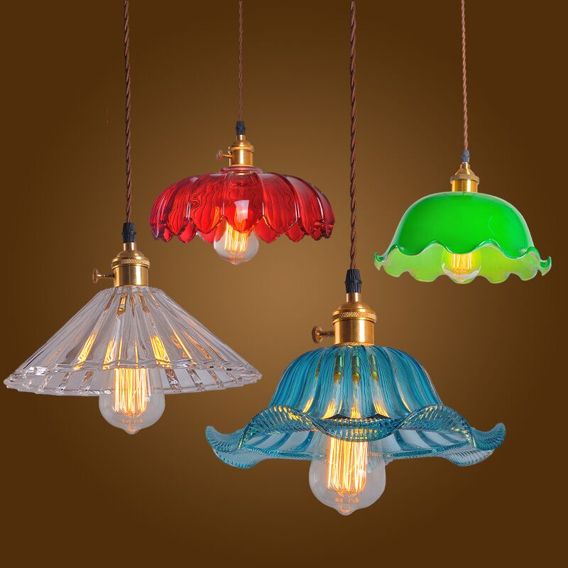 Glass Pendant Light Vintage Ceiling Lamp Multi Colorful Cystal Glass Cafe Bar Club Coffee Shop s loft vintage retro big bulb pendant ceiling lamp glass droplight for cafe bar coffee shop club store
