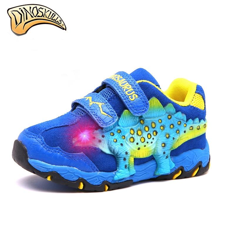 $32.92 Dinoskulls Children Genuine Shoes Boys Light Up LED Shoes Toddler Boy Sneakers Kids Running Shoes Toddler Tenis Infantil 27-34