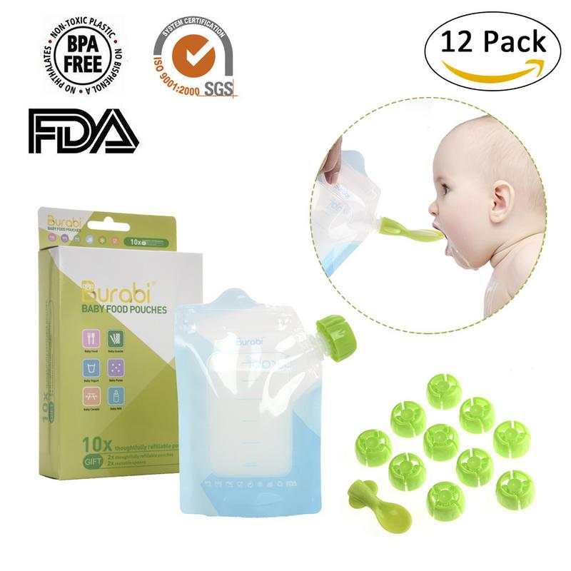 12pcs/set 180ml BPA-Free Reusable Sealed Baby Food Pouch Storage Bag Food Homemade Double Zipper Feeding Supplement Bags