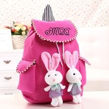 2016 Limited Mochila Escolar For Children's School Bags For Cartoon Wave Point Bag Small Rabbit Pendant Lovely Canvas Bag0.18