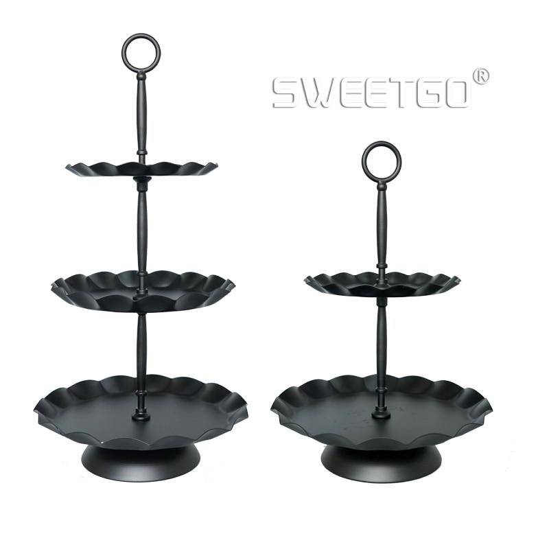 SWEETGO 3 niveles de soporte para cupcakes bandeja de borde de ola negro herramientas para pasteles fiesta evento proveedor decoración del hogar para hornear Cocina y bar 2 lays