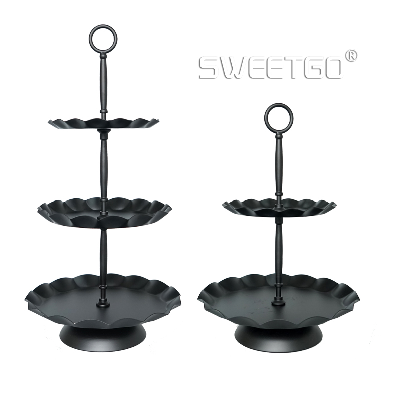 SWEETGO 3 tingkatan cupcake berdiri gelombang hitam tepi tray alat kue pesta acara pemasok dekorasi rumah Bakeware Kitchen & bar 2 meletakkan