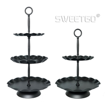 Sweetgo 3段カップケーキスタンド黒波エッジトレイケーキツールパーティーイベントサプライヤー家の装飾耐熱皿キッチン&バー2を産む