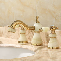Basin Faucets Luxury Gold Brass Deck Mounted Jade Bathroom Faucet 3 Pcs Crystal Double Handle Lavatory Sink Mixer Taps YD 912