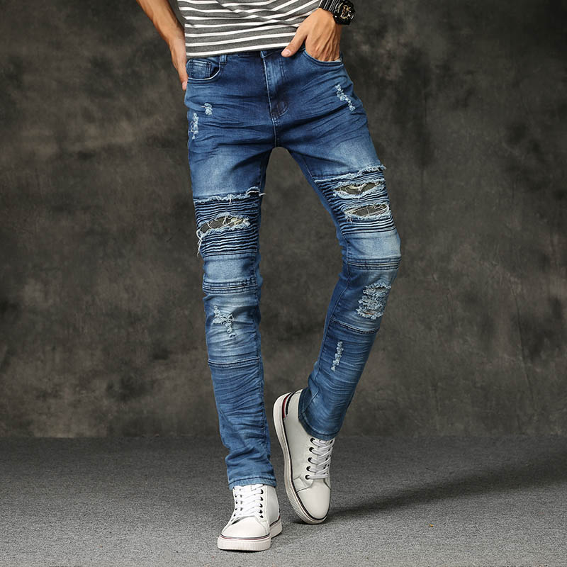 Men Skinny Ripped Biker Jeans with Holes Stretch Black Blue Fashion Cool Denim Pants Joggers Destroyed Youth Teenager hot 2017 blue ripped jeans men with holes cowboy super skinny famous designer brand slim fit destroyed torn jean pants for male