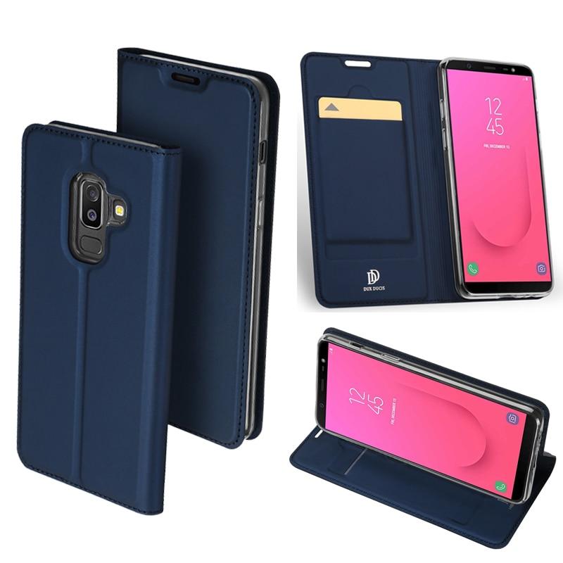 D'origine DUX DUCIS Étui En Cuir Pour Samsung Galaxy J8 2018 Mince Flip Pochette de Stand de Couverture Pour Samsung J8 2018 D'origine téléphone Cas