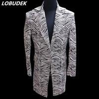 Zebra Stripe Men's Coats jacket Tide slim long Coat Bar star Punk style Rock singer DS Costume Hip Hop Dance performance Blazers