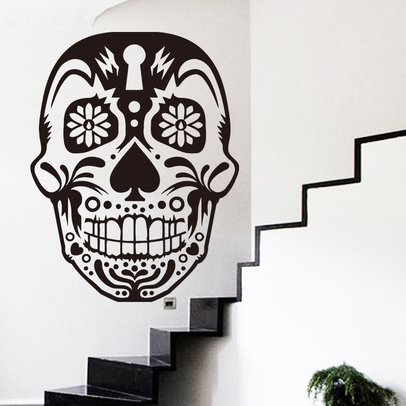 New Design Art Home Decor Cheap Vinyl Mexico Sugar Skull Wall Sticker Removable House Decoration Pvc