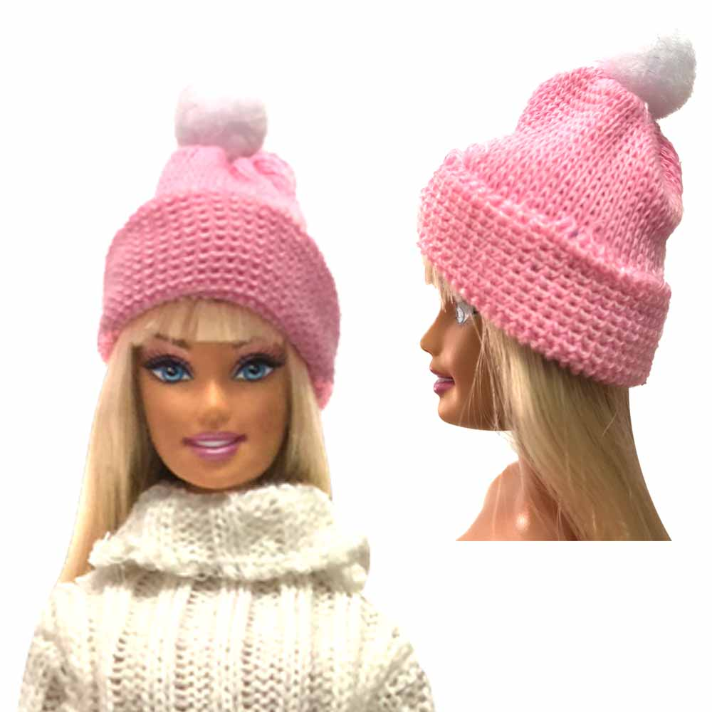 NK One Pcs Fashion Winter New Pink Happy Knitted Knitted Hat For 30cm Barbie Doll Accessories Clothes Party Best Gift 248A