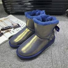 GXLLD Hot Sale Shoes Women Boots Solid Slip-On Soft Cute Women Snow Boots Round Toe Flat with Winter Fur Mid-Calf Boots