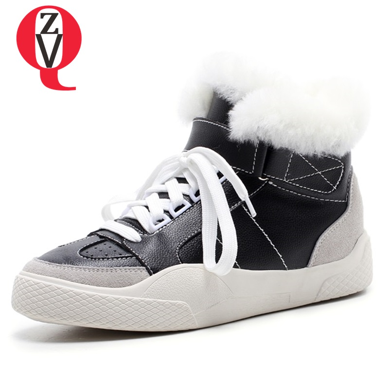 b1d463051ef3b6 Rétro Toile Printemps Vache Peluche Femme Neige 2018 Femmes Zvq Laine  Sneakers white Véritable Cuir D'hiver Black De Chaussures ...