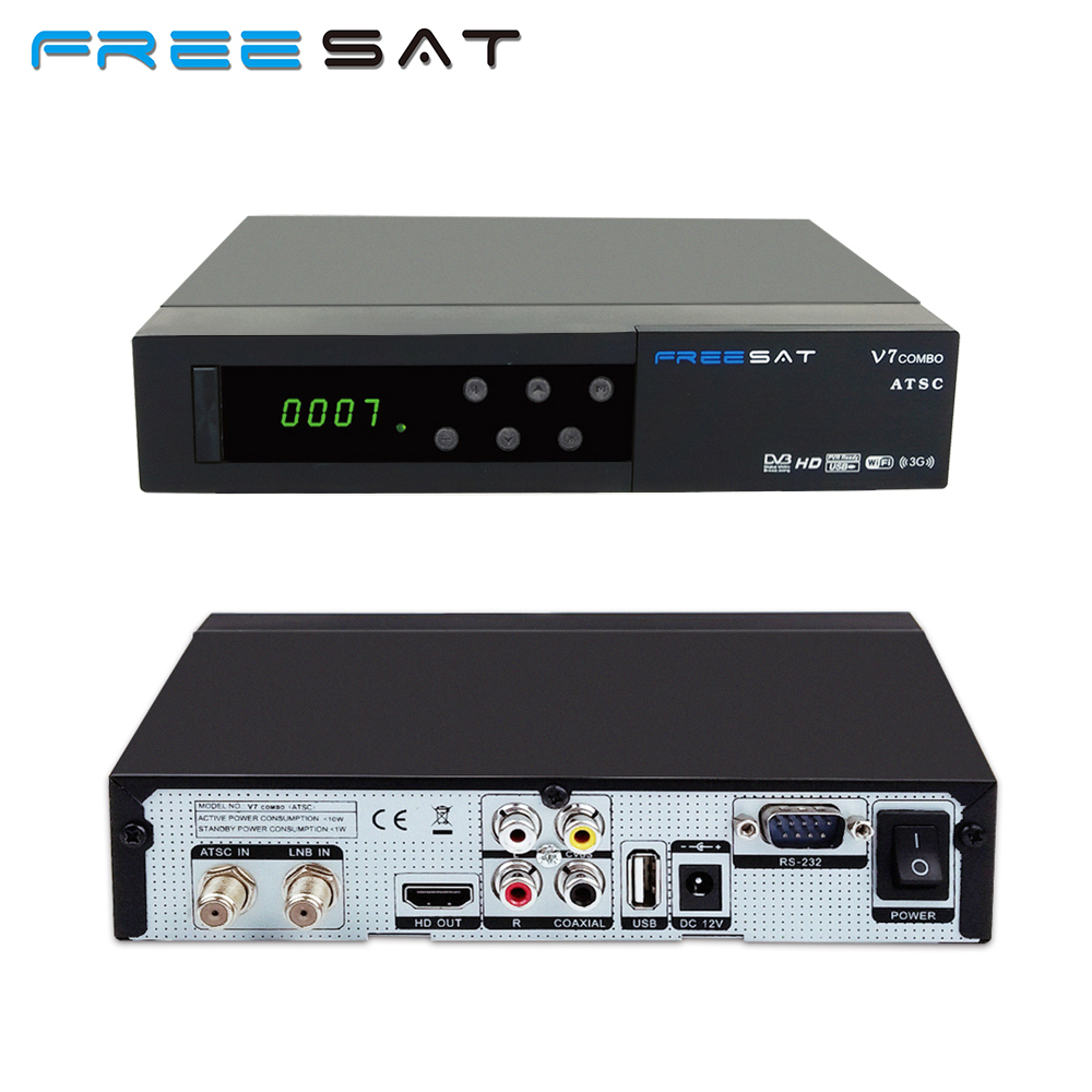Freesat v7 ATSC Combo Support HD AC3 Audio CONVERTOR TV BOX+Full 1080P Digital DVB-S2 Satellite Receiver With IKS Youtube CCCAM satellite tv receiver freesat v7 atsc s2 combo usb wifi universal ku lnb support iptv powervu biss cccam for north america