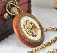 Wholesale Price Good Quality Antique Vintage Classic Gift For Men Wood Brass Case Short Chain Mechanical