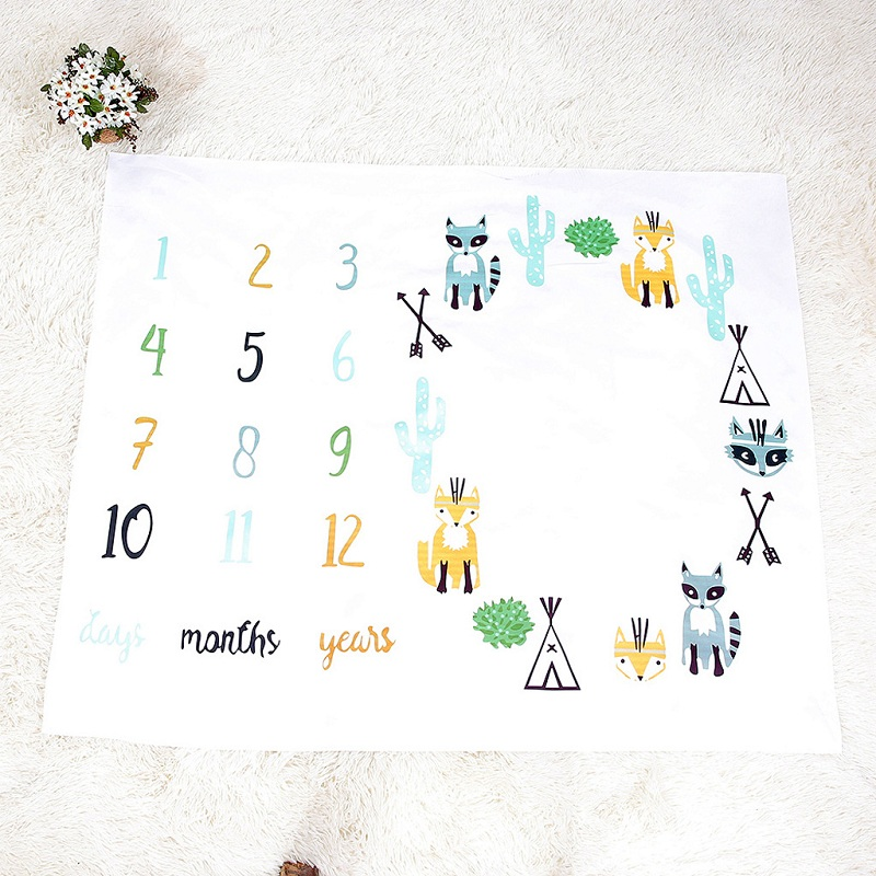 Cartoon Pattern Infant Baby Milestone Photo Props Background Blankets Play Mats Backdrop Cloth Calendar Photo Accessories Nordic | Happy Baby Mama