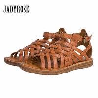 Jady Rose Weave Style Women Genuine Leather Flat Sandal Gladiator Sandals Rivets Studded Flat Shoes Woman