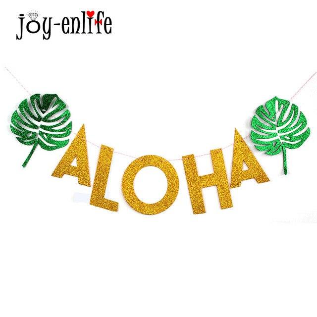 JOY-ENLIFE Aloha гирлянды Гавайи Beach Party Вымпел блеск золота тропический партия висит баннеры Луау партии Декор