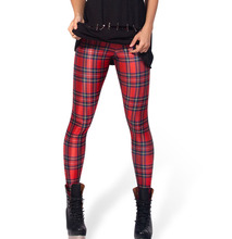 Fashion 3076 sexy girl women plaid tartan red green 3D prints Polyester elastic fitness Leggings Pants