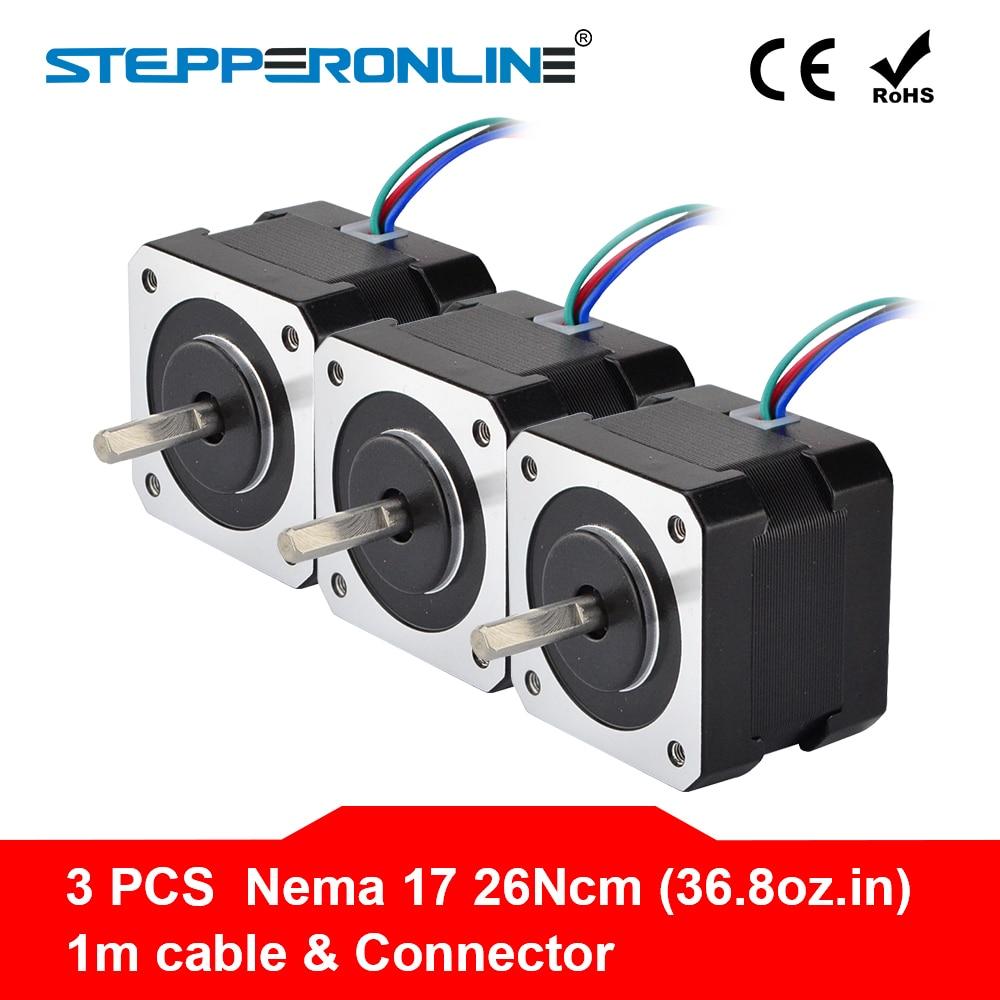 3PCS Nema17 Step Motor 34mm 26Ncm(36.8oz.in) 0.4A 12V Nema 17 Stepper Motor 42BYGH 4-lead CNC Reprap 3D Printer3PCS Nema17 Step Motor 34mm 26Ncm(36.8oz.in) 0.4A 12V Nema 17 Stepper Motor 42BYGH 4-lead CNC Reprap 3D Printer