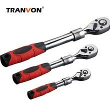 TRANVON Llave de trinquete ajustable, llave de manija de Llave de trinquete, telescópica, Flexible, herramientas de reparación de automóviles, herramientas de mano