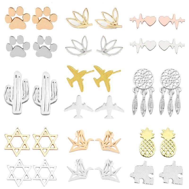 Fashion Creative Plant Animal Earrings Female Paper Crane Dog Paw Lotus Cactus Aircraft Charm Woman Jewelry Brincos