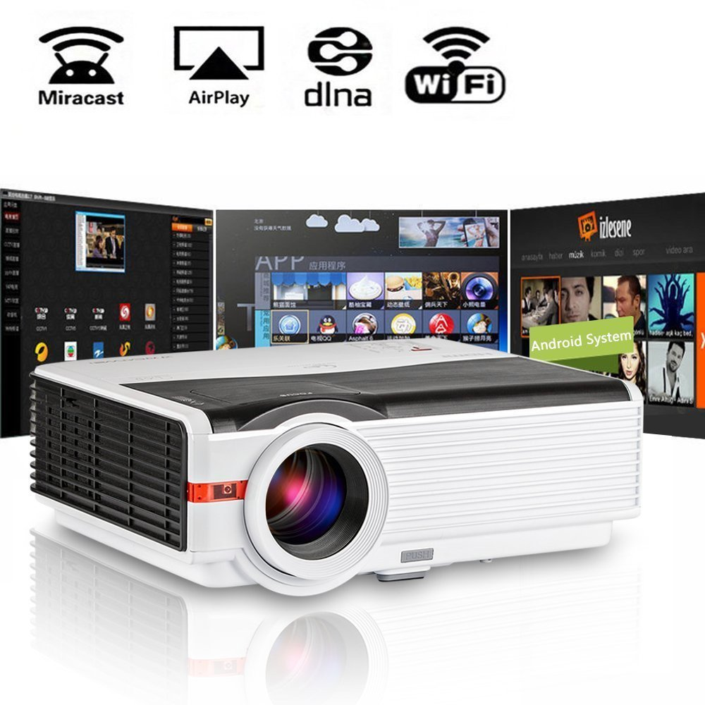CAIWEI Android WiFi LED Projector LCD Beamer for Home Cinema Theatre Movie Video Audio Game 5000 Lumens Support Full HD 1080p