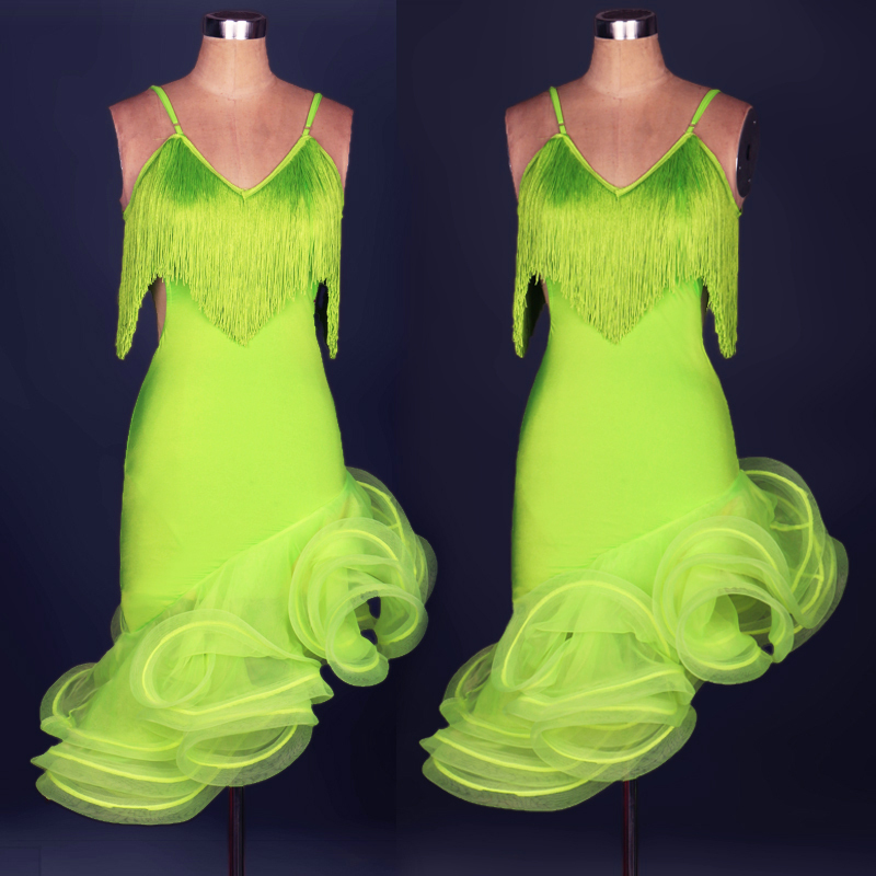 Latin dance costume sexy tassel spandex latin dance dress for women latin dance competition dresses 5kinds of colors