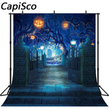 Capisco Mysterious Forest Old Trees Halloween Backdrop Pumpkin Lanterns Black Cats Kids Children Night Party Photo Background