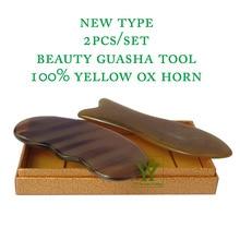 New Arrival 100% yellow ox horn thicken high polishing beauty guasha tool 1pcs fish and 1pcs reniform plate цена в Москве и Питере