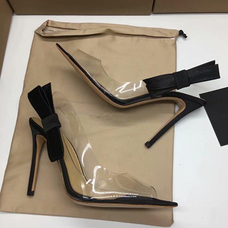 Sexy Chaussures Femmes Stiletto Pompes De Show Bowknot Sandales Sangle Parti As Côté Pvc Boucle Clair Mariage Transparent Ruwnay Hanbaidi Show Gladiateur as dwqCSd