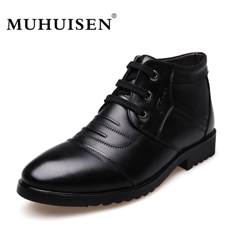 MUHUISEN Genuine Leather Men Ankle Boots Winter Warm Male Casual Snow Shoes Cowhide Motorcycle Lace Up Fur Boot muhuisen brand winter men genuine leather shoes fashion warm working plush ankle boots casual lace up flats male snow boots