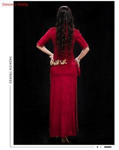 Image 4 - أداء المرأة الرقص الشرقي تظهر في زي الصدرية + سروال + رداء + غطاء الرأس + حزام 5 قطعة فستان رقص الرقص الشرقي المخملية