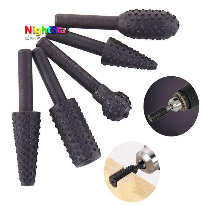 5Pcs Rotary Rasp HSS Grinding Head Power Tool Woodworking Cutter Drill Bits