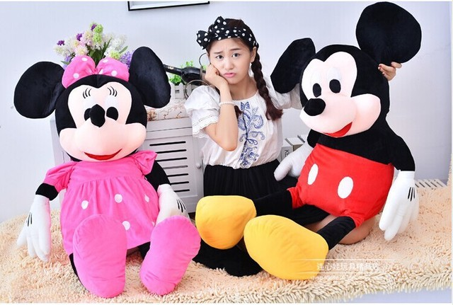 2016 New Free Shipping 100cmLarge Mickey Mouse Stuffed Toys&Giant Minnie Mouse Plush Toys For Christmas Gifts