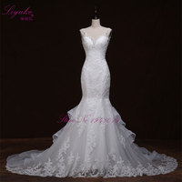 Liyuke Luxurious Crystals Mermaid Wedding Dress Backless Bridal Vestido De Noiva Robe De Mariage Vestido De