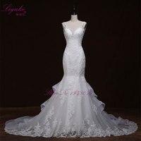Liyuke Luksusowe kryształy mermaid suknia ślubna dla nowożeńców Backless vestido de noiva szata de mariage vestido de noiva curto