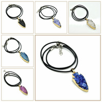 New Fashion Kolye Men Women Gift Natural Stone Pendant Chakra Rope Chain Floating Charms Necklace Bijoux