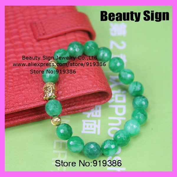 10pcs Free ship ! fashion noble Pure green tangential beads pave sideway with gold buddha head charm elasticBracelets for unisex