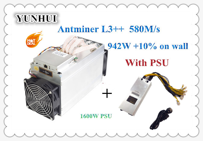 ASIC Chip Miner New ANTMINER L3++ 580M With PSU Scrypt Miner LTC Litecion Mining Machine Better Than ANTMINER L3+ S9 S9i newest asic chip miner antminer l3 580m scrypt miner ltc litecion mining machine upgrate version antminer l3 no psu
