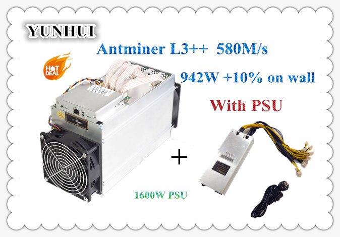 Chips ASIC Mineiro Novo ANTMINER L3 Litecion ++ 580M Com FONTE de ALIMENTAÇÃO Mineiro Scrypt LTC Máquina de Mineração Melhor Do Que ANTMINER l3 + S9 S9i