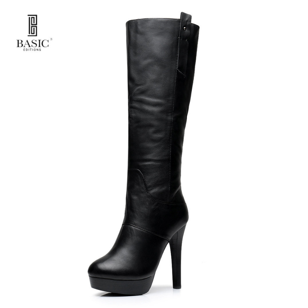 Basic Editions Women Smooth Genuine Leather Stilettos High Heel Platform Zipper Winter Fur Lining Mid Calf Long Boots - J706-1M basic editions women dark grey suede leather spike high heel chain accessories winter long boots 1105 1422 aj91