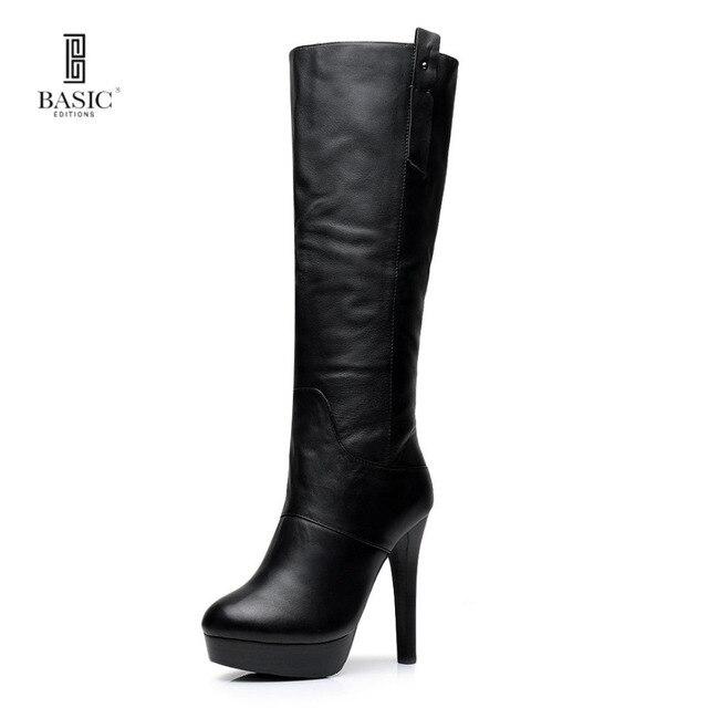 67bdacc01 Basic Editions mujeres Smooth cuero genuino Stilettos tacón alto plataforma  cremallera invierno piel forro medio pantorrilla
