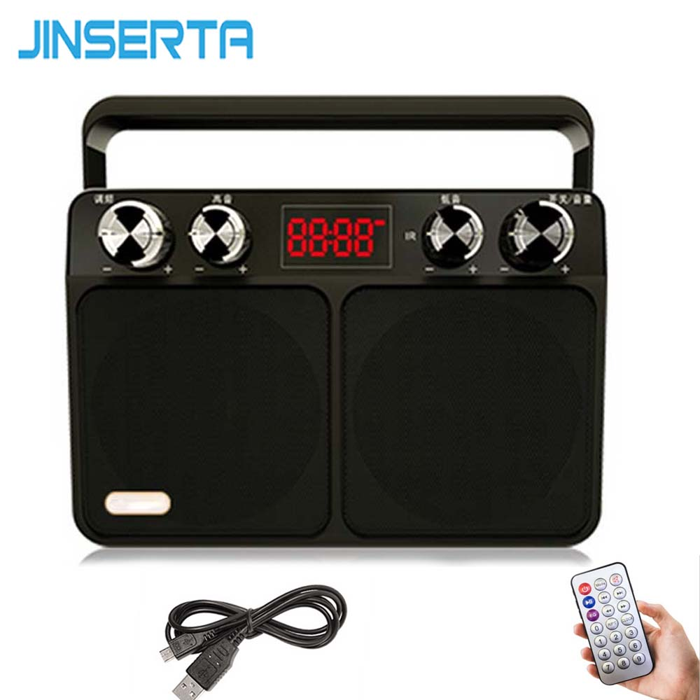 JINSERTA Portable FM Radio Retro Radio Receiver Speaker USB Disk TF Card MP3 Music Player with LED Display + Remote Control цена 2017
