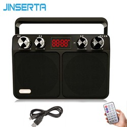 JINSERTA Portable FM Radio Retro Radio Receiver Speaker USB Disk TF Card MP3 Music Player with LED Display + Remote Control