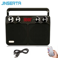 JINSERTA Portable FM Radio Retro Radio Receiver Speaker USB Disk TF Card MP3 Music Player with LED Display + Remote Control