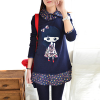 Kimono embroidery women peter pan collar blouse 2017 new autumn winter flannel cute gril patchwork fake two thicken blusas mujer