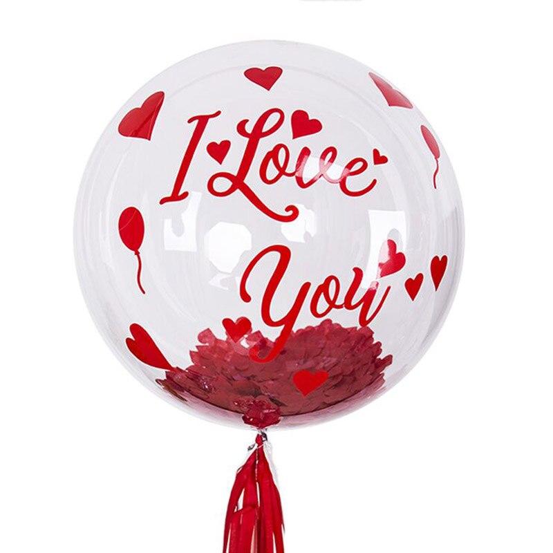 Czerwony kocham cię naklejki z 24 cali bez zmarszczek przezroczysty PVC balonik typu bańka zestaw ślub walentynki Helium Globos Decor