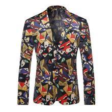 Men Suit High Quality Mens Casual Suits Blazers Slim Fit Jacket Fashion Blazer Coat Button Stage Suit Men Printing Suit Jacket