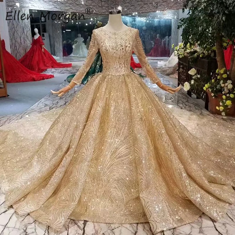 Vintage Wedding Dresses Under 500: Luxury Glitter Vintage Gold Wedding Dresses Long Sleeves