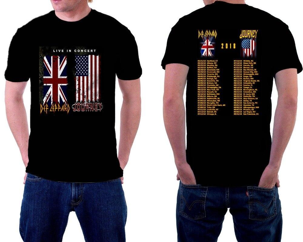 Unique T Shirts Short Sleeve Def Leppard Journey Crew Neck Fashion