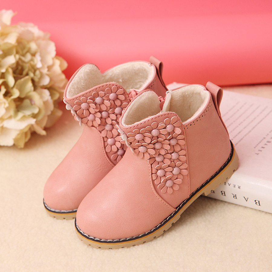 Fashion Kids Boots With Fur Children Shoes Plush Warm Girl Mid-calf Boots For Kids Girls Casual Shoes Child Winter Martens Boots ...